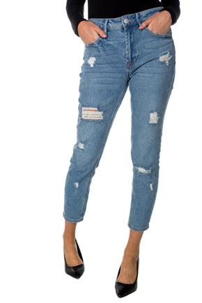Almost Famous Karly Wash Distressed Mom Jean