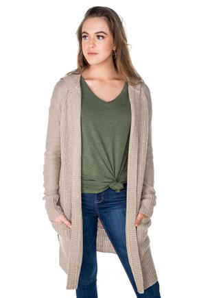Knit Hooded Cardigan with Elbow Patches