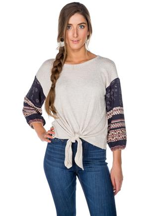 Waffled Tie-Front Sweater with Printed Sleeves