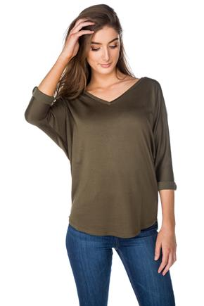 3/4 Sleeve V-Neck with Shirttail Hem