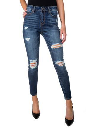 Almost Famous Dark Wash Distressed High-Rise Skinny Jean