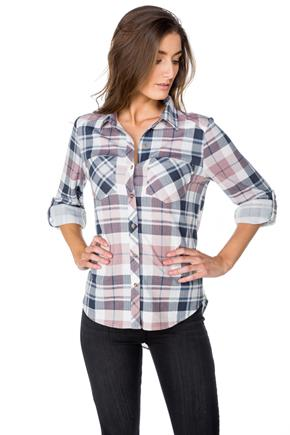 Plaid Boyfriend Shirt with Roll-Up Sleeves