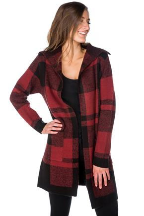 Plaid Coatigan with Pockets