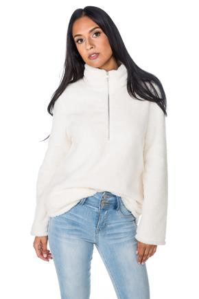 Faux Fur Half-Zip Sweater with Pockets