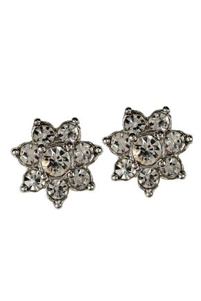 Floral Studs with Rhinestones