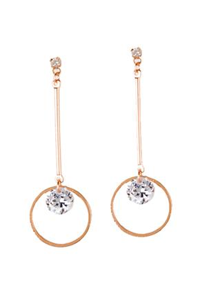 Circle Drop Earrings with Rhinestones