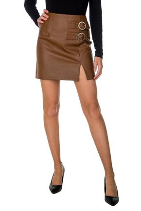 Faux Leather A-Line Skirt with Buckles