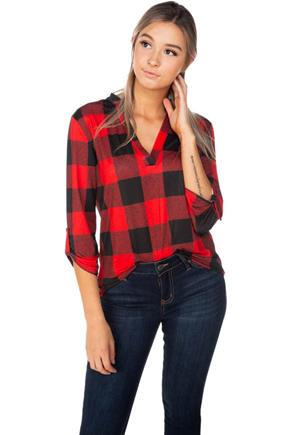 Buffalo Plaid Half-Placket Blouse