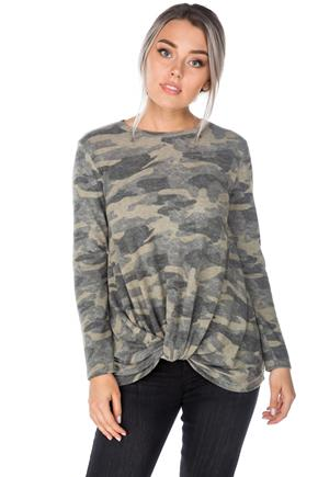 Camouflage Long Sleeve Top with Knotted Hem