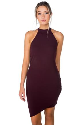 Mock Neck Bodycon Dress with Asymmetrical Hem