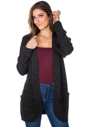 Knit Long Sleeve Open Cardigan with Pockets