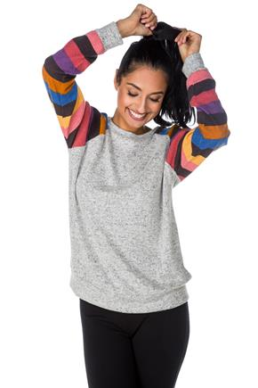 Baseball Sweater with Stripe Sleeves