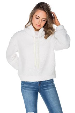 White Sherpa Popover Sweater