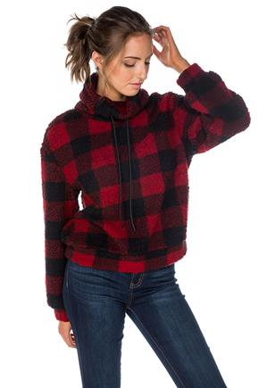 Buffalo Plaid Sherpa Popover Sweater