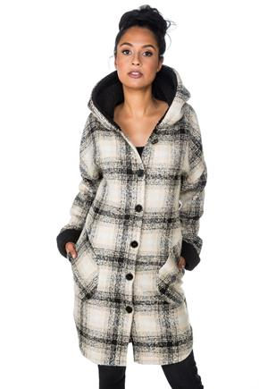Plaid Coat with Sherpa Lined Hood