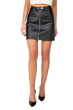 Faux Leather A-Line Skirt with Front Zipper