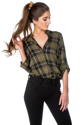 Sloane Plaid Half-Placket Blouse