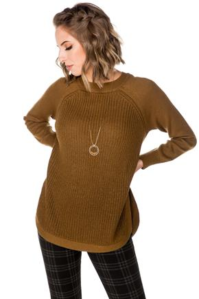 Crewneck Sweater with Shirttail Hem and Side-Slits