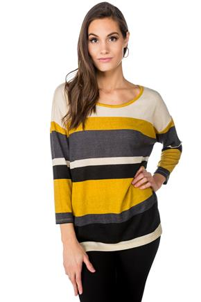 Stripe 3/4 Sleeve High-Low Sweater