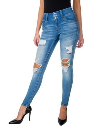 "Tattoo ""Jorja"" Mid Wash Distressed Mid-Rise Push-Up Jean"
