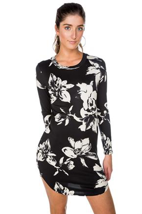 Floral Brushed Long Sleeve Bodycon Dress