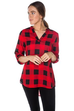 Norah Buffalo Plaid Blouse with Roll-Up Sleeves