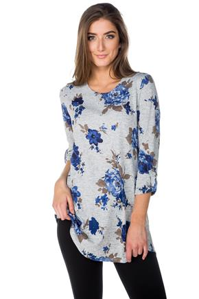 Floral Tunic with 3/4 Sleeves