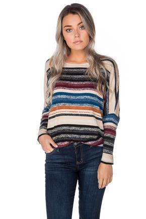 Stripe Dolman Sleeve Tunic
