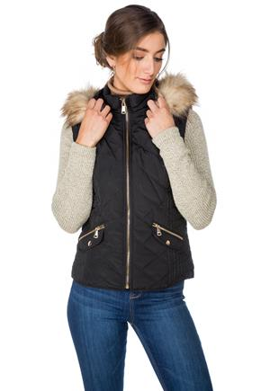 Tattoo Quilted Vest with Knitted Sleeves and Faux Fur Trim Hood