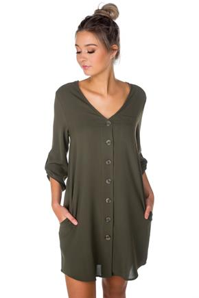 Button-Front Shirt Dress with Roll-up Sleeves