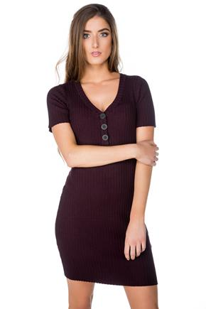 Short Sleeve Ribbed Dress with Buttons
