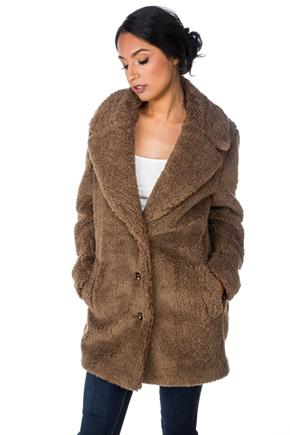 Faux Fur Single Breasted Coat