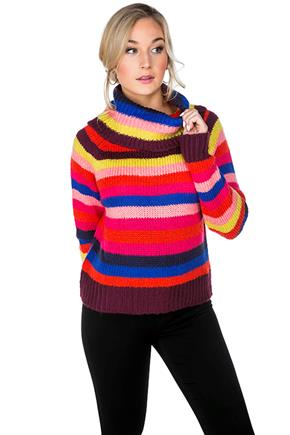 Multi-Colour Stripe Cropped Turtleneck
