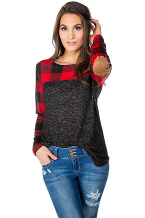 Buffalo Plaid SuperSoft Sweater with Elbow Patches