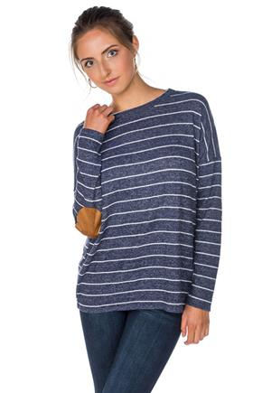 Supersoft Stripe Sweater with Elbow Patches