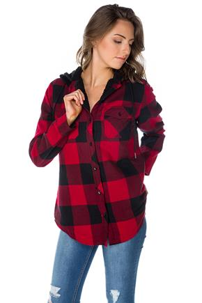 Rory Plaid Flannel Hooded Shirt with Sherpa Lining