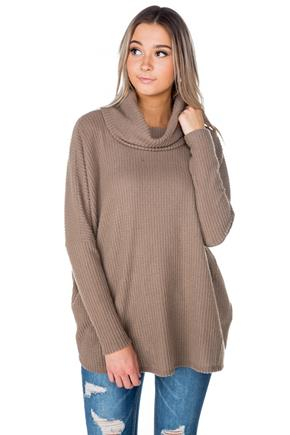 Waffle Knit Top with Cowl Neck