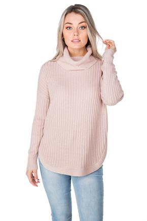 Knit Cowl Neck Sweater with Circle Hem