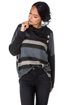 Stripe Split Neck Poncho with Buttons