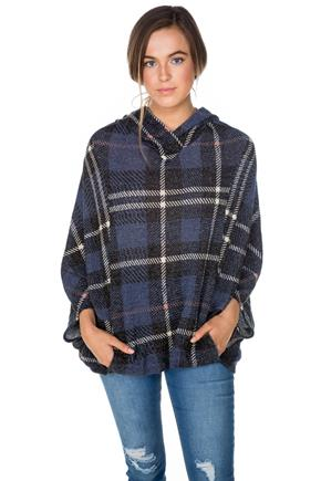 Navy Plaid Hooded Poncho