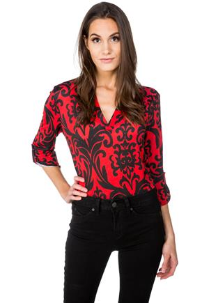 Damask Print Half-Placket Blouse