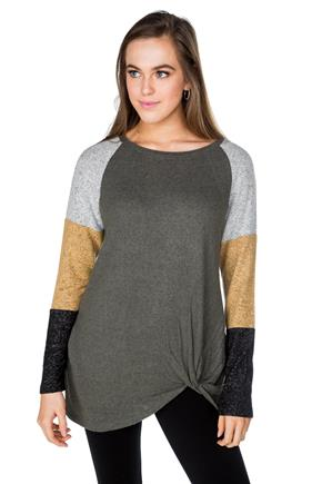SuperSoft Sweater with Colour-Blocked Sleeves and Knotted Hem