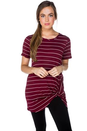 Stripe Short Sleeve Tunic with Knotted Hem