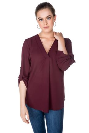 Chiffon Tunic with Roll-Up Sleeves