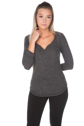 Ribbed 3/4 Sleeve Henley V-Neck
