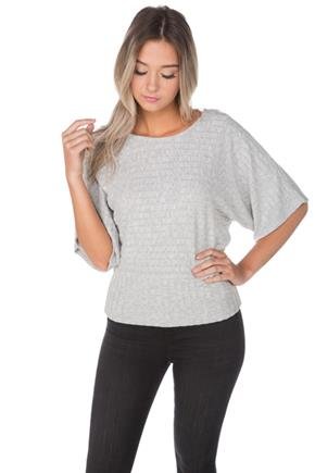 Ribbed Dolman Top with Lattice Back