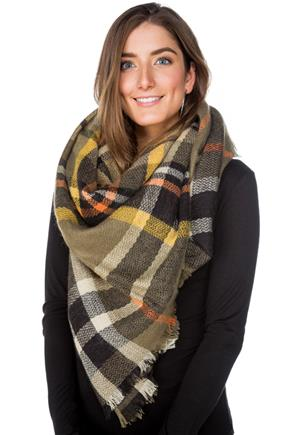 Green and Yellow Plaid Blanket Scarf