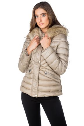 Tattoo Quilted Puffer with Faux Fur Trim Hood