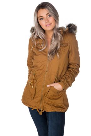 YMI Four Pocket Anorak with Faux Fur Trim Hood