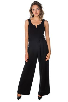 Sleeveless Notch Jumpsuit with Tie-Belt
